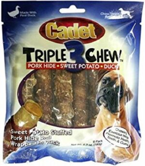 IMS-Cadet-TRIPLE-CHEWS-6-pack-DUCK-PORK-HIDE-SWEET-POTATO-Dog-Chew-Treat-NEW-352335801132